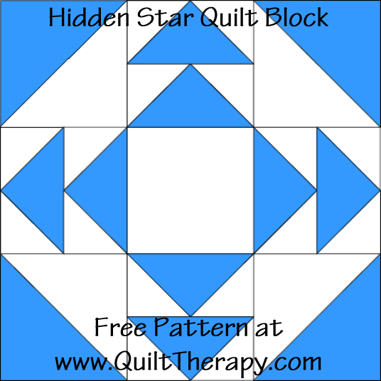 Hidden Star Quilt Block Free Pattern at QuiltTherapy.com!