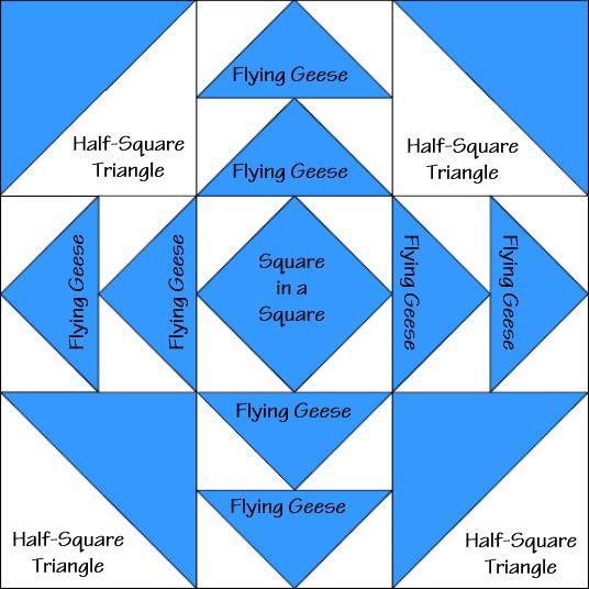 Hidden Star Variation Quilt Block Diagram Free Pattern at QuiltTherapy.com!