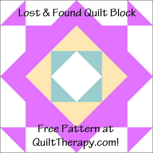 "Lost & Found Quilt Block with Three Trees Free Pattern for a 12"" quilt block at QuiltTherapy.com!"