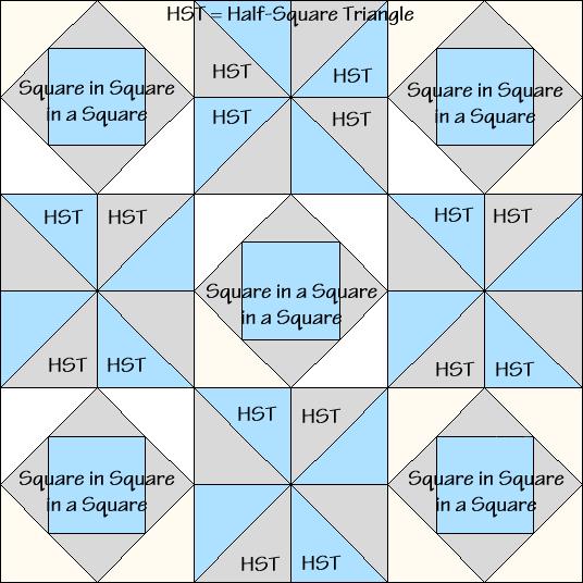 South Carolina Star Variation Quilt Block Diagram Free Pattern at QuiltTherapy.com!