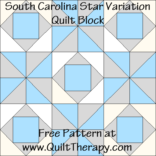 South Carolina Star Variation Quilt Block Free Pattern at QuiltTherapy.com!