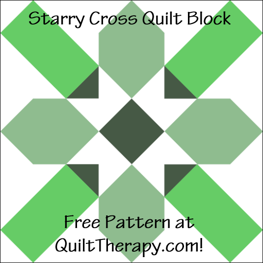 "Starry Cross Quilt Block with Three Trees Free Pattern for a 12"" quilt block at QuiltTherapy.com!"