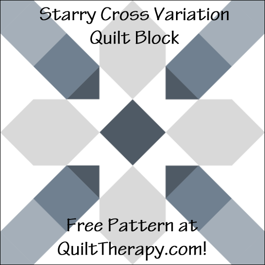 "Starry Cross Variation Quilt Block with Three Trees Free Pattern for a 12"" quilt block at QuiltTherapy.com!"