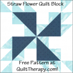 """Straw Flower Quilt Block with Three Trees Free Pattern for a 12"""" quilt block at QuiltTherapy.com!"""
