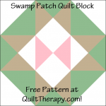 """Swamp Patch Quilt Block Free Pattern for a 12"""" quilt block at QuiltTherapy.com!"""