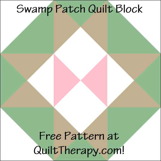 "Swamp Patch Quilt Block Free Pattern for a 12"" quilt block at QuiltTherapy.com!"