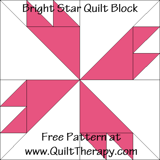 Bright Star Quilt Block Free Pattern at QuiltTherapy.com!