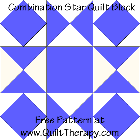 Combination Star Quilt Block Free Pattern at QuiltTherapy.com!
