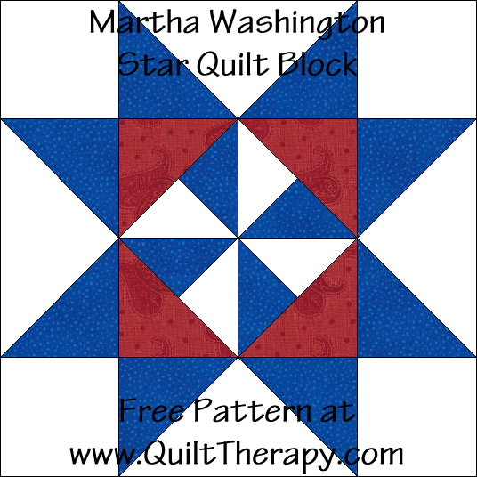 Martha Washington Star Quilt Block Free Pattern at QuiltTherapy.com!