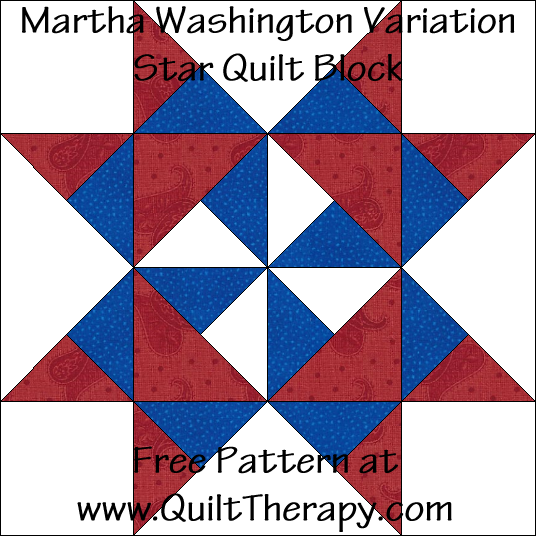 Martha Washington Star Variation Quilt Block Free Pattern at QuiltTherapy.com!