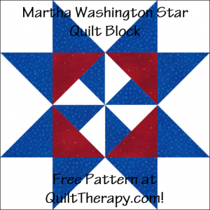 "Martha Washington Star Quilt Block Free Pattern for a 12"" quilt block at QuiltTherapy.com!"