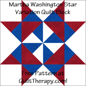 "Martha Washington Star Variation Quilt Block Free Pattern for a 12"" quilt block at QuiltTherapy.com!"