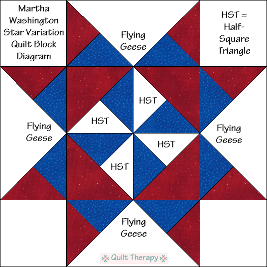 "Martha Washington Star Variation Block Diagram Free Pattern for 12"" finished quilt block at QuiltTherapy.com!"
