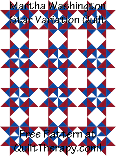 "Martha Washington Star Variation Quilt Free Pattern for a 36"" x 48"" quilt at QuiltTherapy.com!"