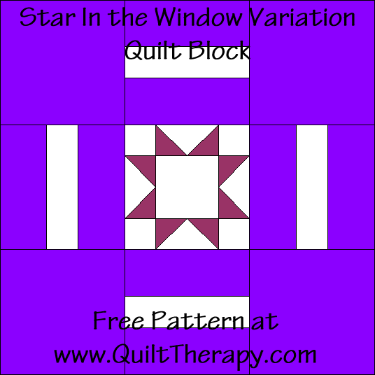 Star in the Window Variation Quilt Block Free Pattern at QuiltTherapy.com!