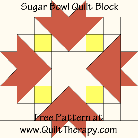 Sugar Bowl Quilt Block Free Pattern at QuiltTherapy.com!