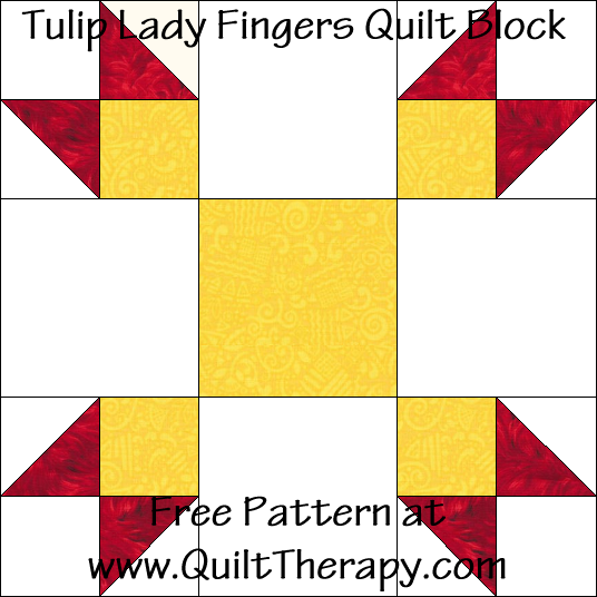 Tulip Lady Fingers Quilt Block Free Pattern at QuiltTherapy.com!