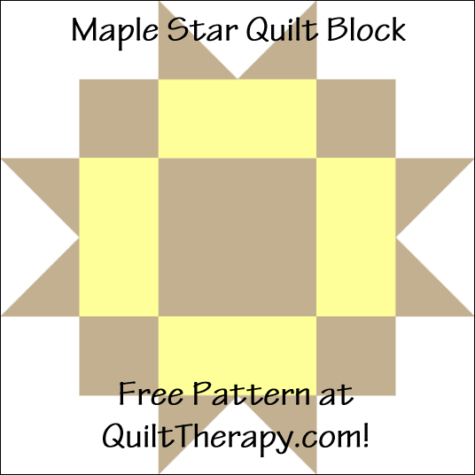 "Maple Star Quilt Block Free Pattern for a 12"" quilt block at QuiltTherapy.com!"