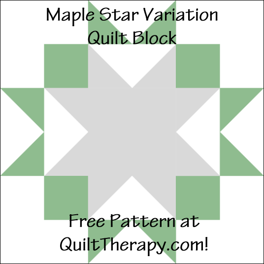 "Maple Star Variation Quilt Block Free Pattern for a 12"" quilt block at QuiltTherapy.com!"