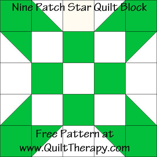 Nine Patch Star Quilt Block Free Pattern at QuiltTherapy.com!