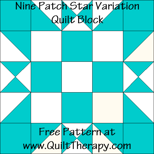 Nine Patch Star Variation Quilt Block Free Pattern at QuiltTherapy.com!