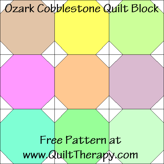 Ozark Cobblestones Quilt Block Free Pattern at QuiltTherapy.com!