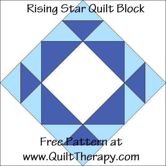 Rising Star Quilt Block Free Pattern at QuiltTherapy.com!
