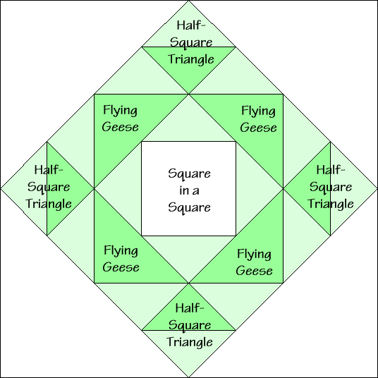 Rising Star Variation Quilt Block Diagram Free Pattern at QuiltTherapy.com!