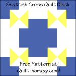 """Scottish Cross Quilt Block Free Pattern for a 12"""" quilt block at QuiltTherapy.com!"""