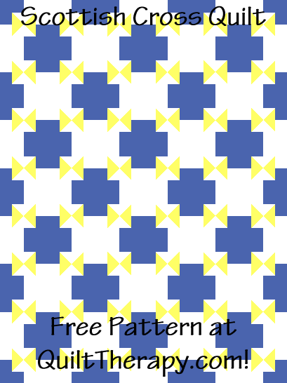 """Scottish Cross Quilt Free Pattern for a 36"""" x 48"""" quilt at QuiltTherapy.com!"""