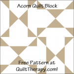 """Acorn Quilt Block Free Pattern for a 12"""" quilt block at QuiltTherapy.com!"""