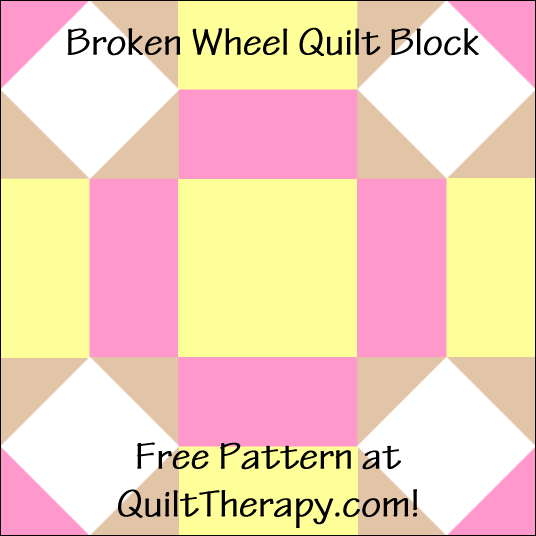 "Broken Wheel Quilt Block Free Pattern for a 12"" quilt block at QuiltTherapy.com!"