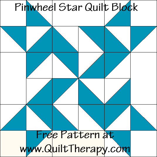 Pinwheel Star Quilt Block Free Pattern at QuiltTherapy.com!