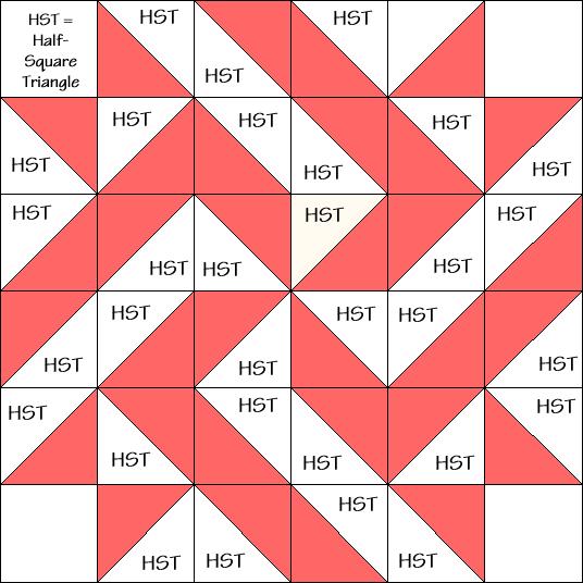 Pinwheel Star Variation Quilt Block Diagram Free Pattern at QuiltTherapy.com!