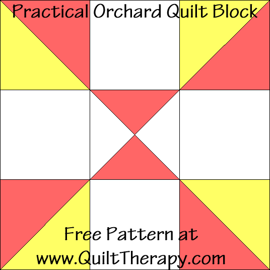 Practical Orchard Quilt Block Free Pattern at QuiltTherapy.com!