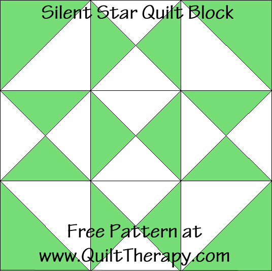 Silent Star Quilt Block Free Pattern at QuiltTherapy.com!