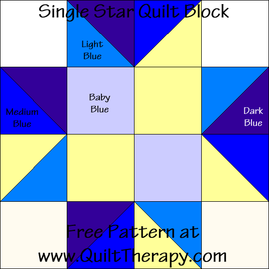 Single Star Quilt Block Free Pattern at QuiltTherapy.com!