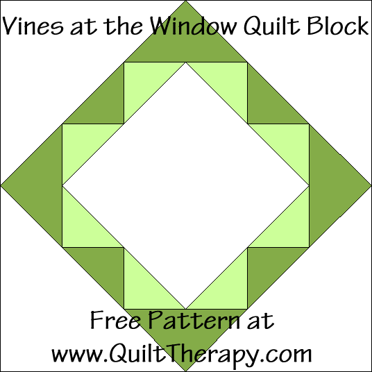 Vines at the Window Quilt Block Free Pattern at QuiltTherapy.com!