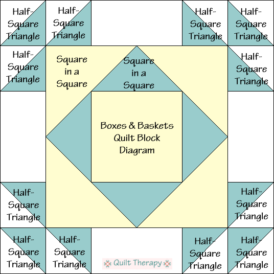 """Boxes & Baskets Quilt Block Diagram Free Pattern for 12"""" finished quilt block at QuiltTherapy.com!"""