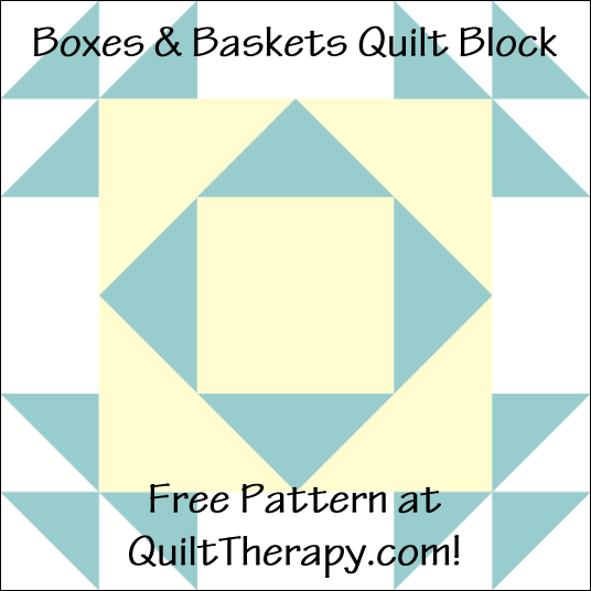 """Boxes & Baskets Quilt Block Free Pattern for a 12"""" quilt block at QuiltTherapy.com!"""