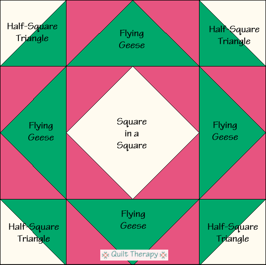 """Canadian Gardens Quilt Block Diagram Free Pattern for 12"""" finished quilt block at QuiltTherapy.com!"""