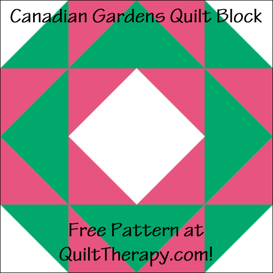 """Canadian Gardens Quilt Block Free Pattern for a 12"""" quilt block at QuiltTherapy.com!"""