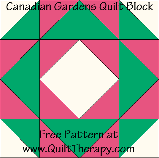 Canadian Gardens Quilt Block Free Pattern at QuiltTherapy.com!