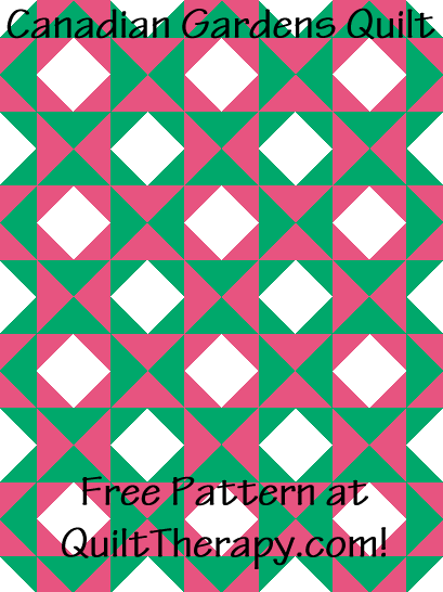"""Canadian Gardens Quilt Free Pattern for a 36"""" x 48"""" quilt at QuiltTherapy.com!"""