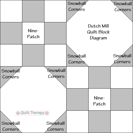 """Dutch Mill Quilt Block Diagram Free Pattern for 12"""" finished quilt block at QuiltTherapy.com!"""