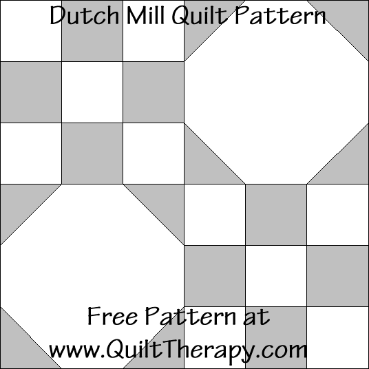 Dutch Mill Quilt Block Free Pattern at QuiltTherapy.com!