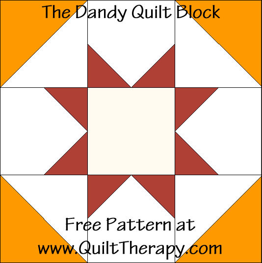 "The Dandy Quilt Block Free Pattern for a 12"" quilt block at www.QuiltTherapy.com!"