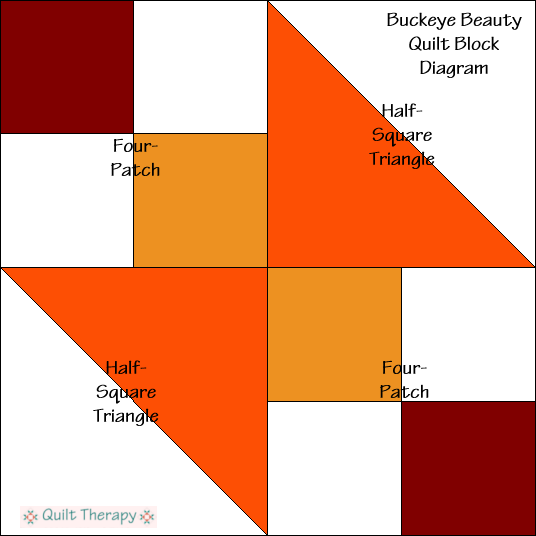 """Buckeye Beauty Quilt Block Diagram a Free Pattern for 12"""" finished quilt block at QuiltTherapy.com!"""