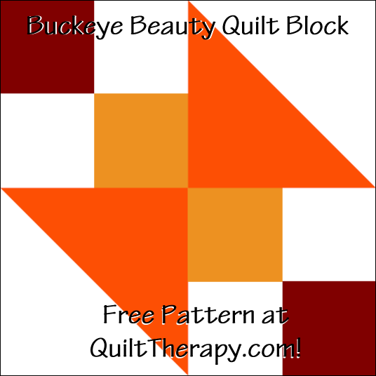 """Buckeye Beauty Quilt Block a Free Pattern for a 12"""" quilt block at QuiltTherapy.com!"""