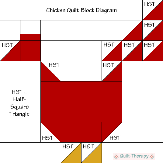 """Chicken Quilt Block Diagram a Free Pattern for 12"""" finished quilt block at QuiltTherapy.com!"""
